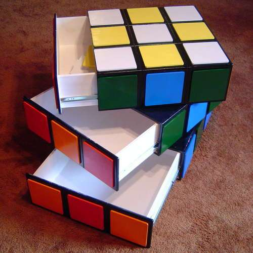 Funky Rubiks cube rotating drawers