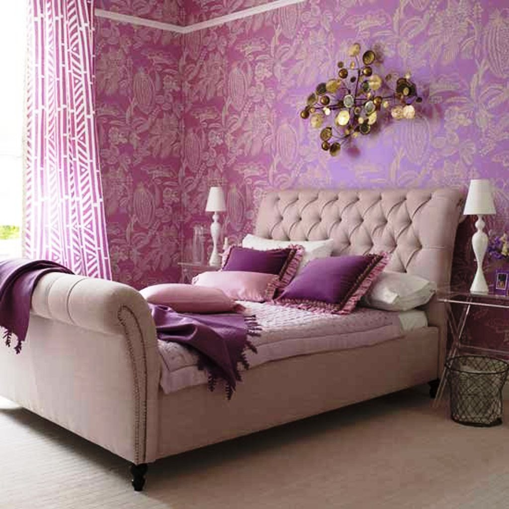Beige, pink and purple bedroom with beige sleigh bed and purple wallpaper