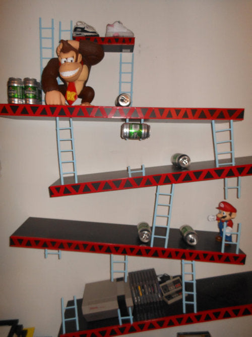 Moutned wall shelves styles like Donkey Kong and Mario original platform game