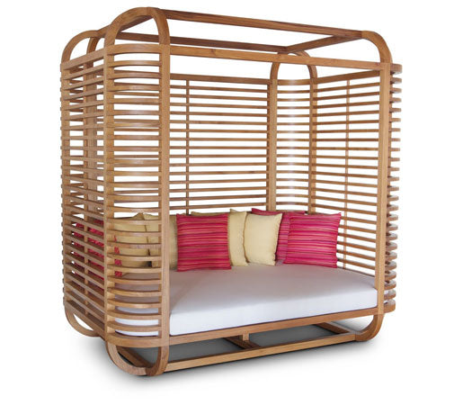 Wood frame day bed with slatted back and sides
