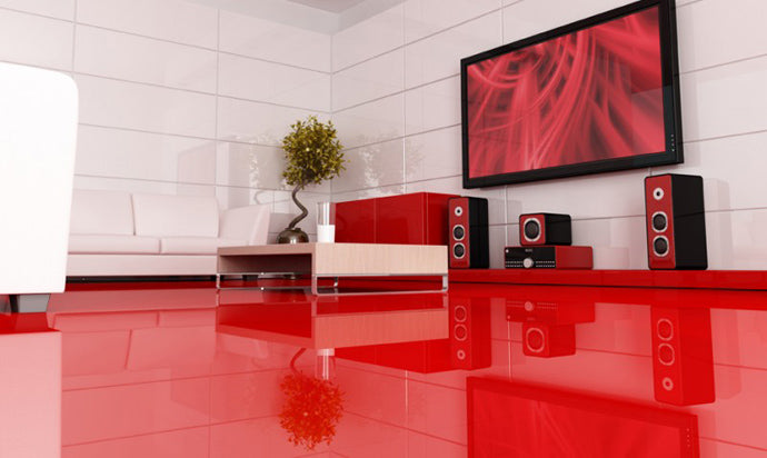 A glossy red floor in a red and white living room