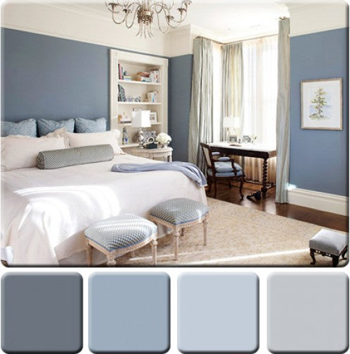 Light blue and white bedroom, blue walls and accessories and white bedding