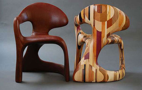 Wooden chairs that look like African art