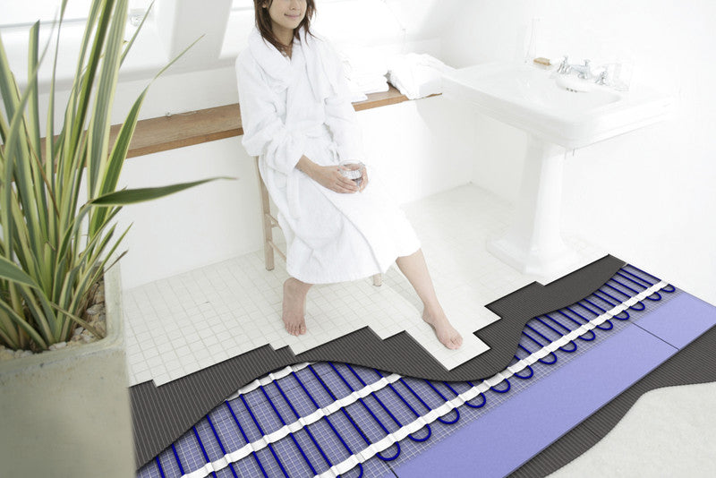 Cross Section Of A Bathroom Floor, Showing Tiles, Insulation And Underfloor Heating Elements