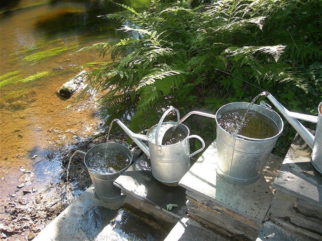 Staggered watering cans dripping water into each other down an incline and then finally into a stream at the bottom
