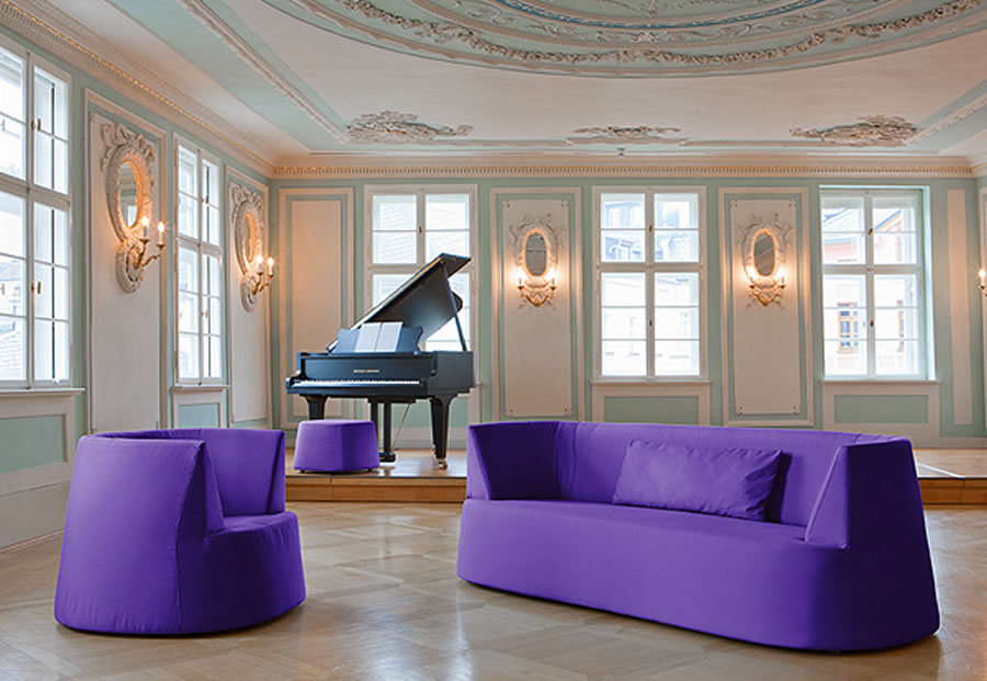Cream and duck egg blue large piano room with Victorian style architraves and wall mouldings
