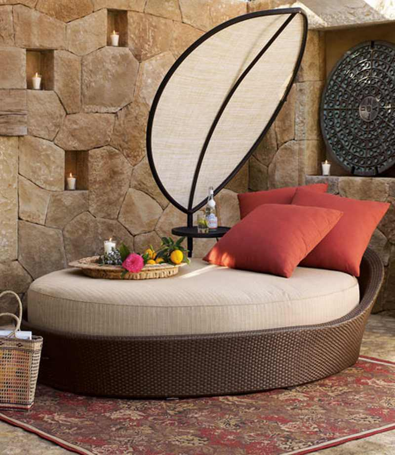 woven daybed in brown, with cream and beige seatpad