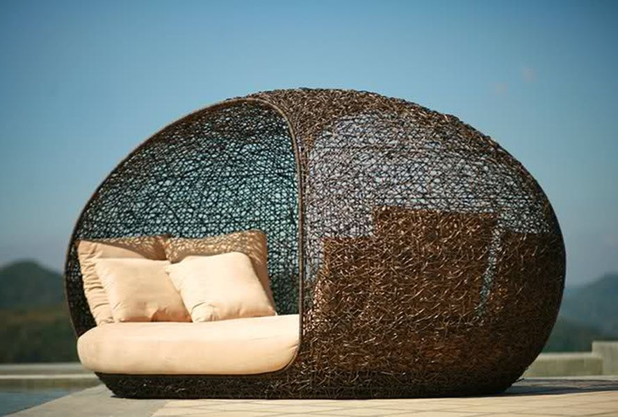 Cosy pod rattan outdoor pool furniture