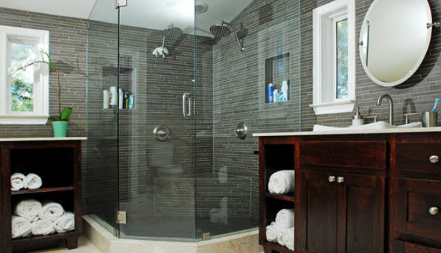 Large Corner Shower With Three Glass Doors, And Small Grey Slate Tiles