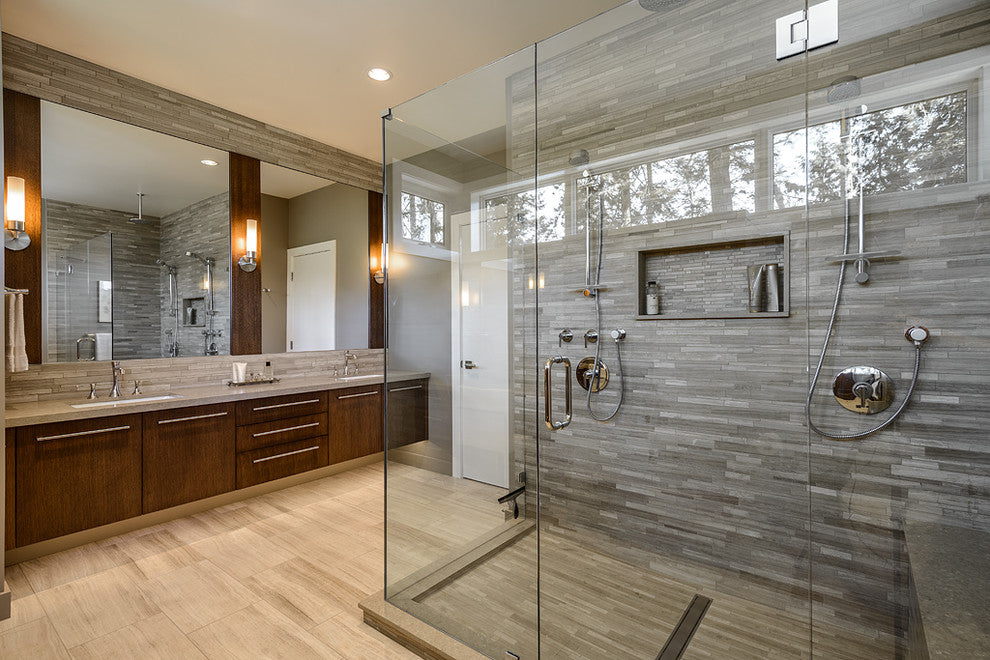 Glass Walk In Shower In Large Beige And Grey Bathroom