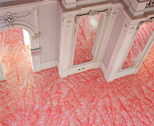 Peculiar pink flooring that looks a floor of giant worms