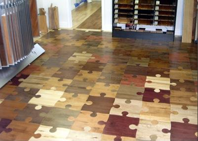 Wooden flooring that looks like lots of jigsaw pieces slotted together