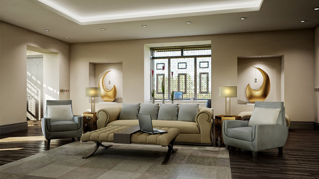 Large living space with dark wooden floors, beige walls and cream sofa, with grey cushions