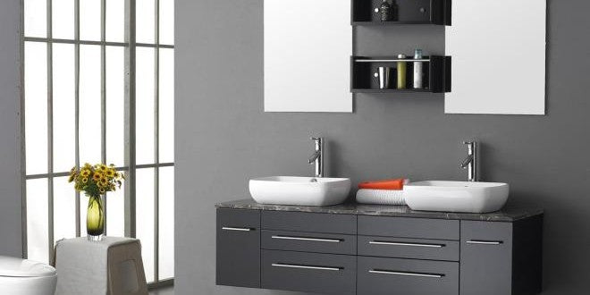 Grey Bathroom With Two White Sinks Under Two Mirrors