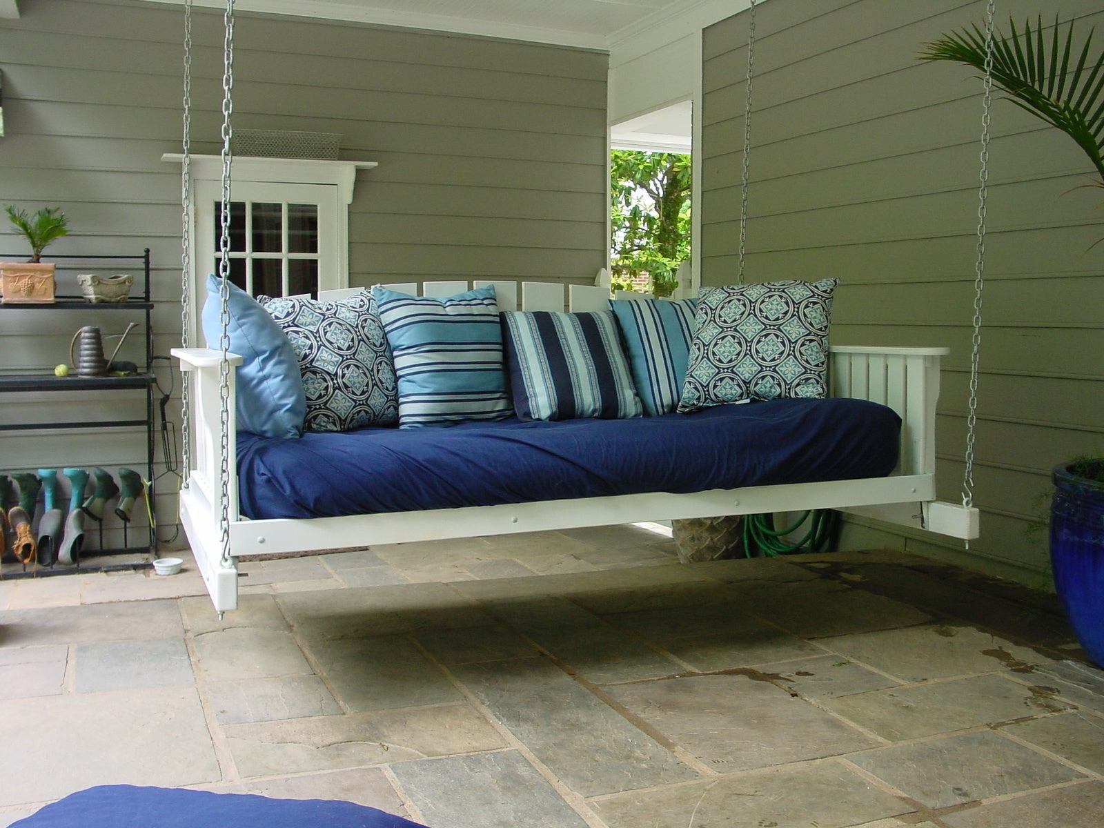 DIY white wood beam daybed porch swing