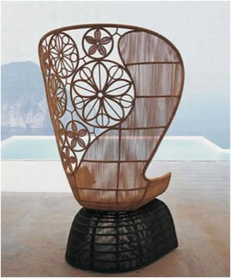 Stylish outdoor chair with raised back and circling leaf pattern