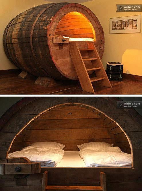 Hollowed Out Giant Barrel Made Into A Funky Bed