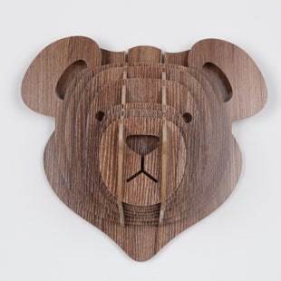 Wooden layered bear head ornament