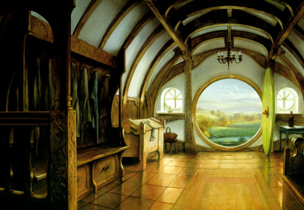An illustration of the inside of hobbits home