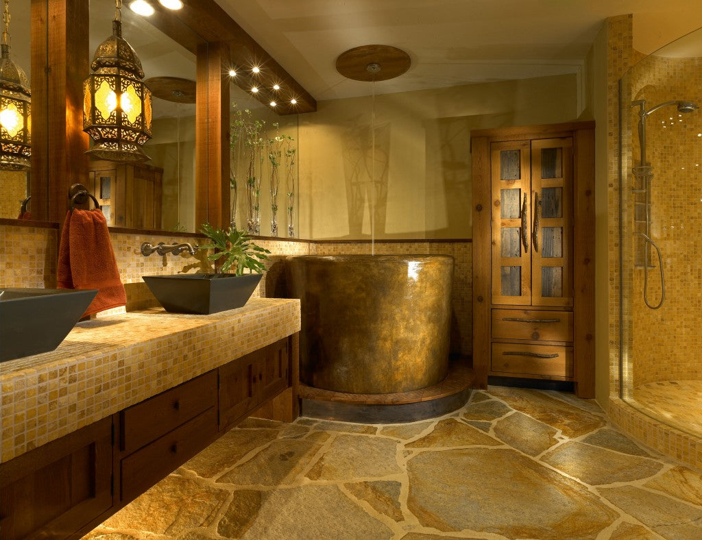 Natural stone tiled bathroom£69,269.96 with a luxury Moroccan feel