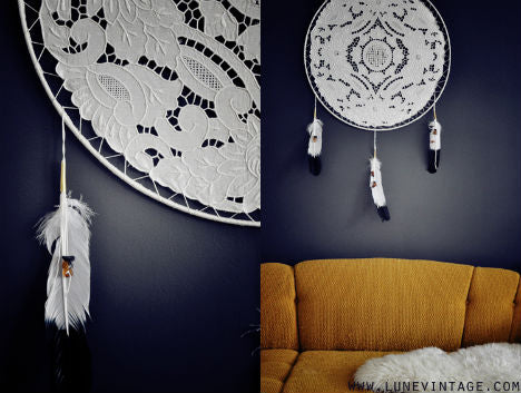 White lace fabric modern dream catcher with white feathers