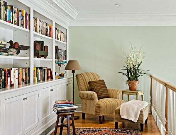 Light green reading ares on the mezzanine of a stair case