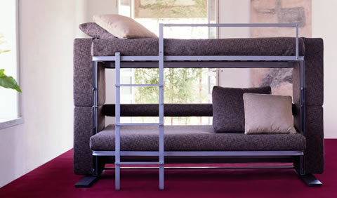 Bunk Bed With Folding Out Bed And Chair As The Bottom Bunk