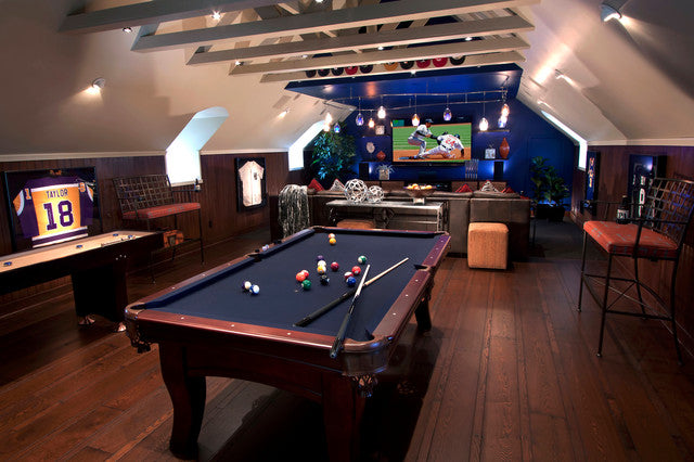 Sports themed den with blue pool table and TV area, with Baseball on the TV