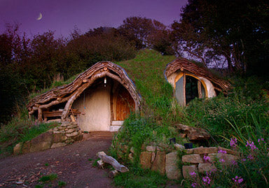 Hobbit style home with grass on the low roof