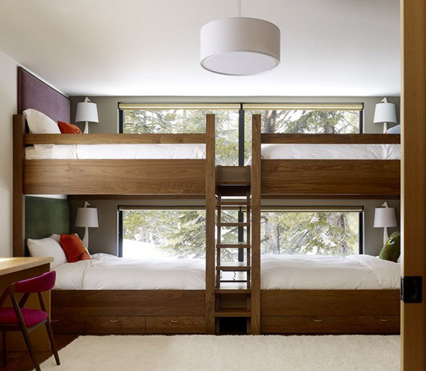 Two Double Bunk Beds, Joined At The Foot Of The Bed With A Ladder