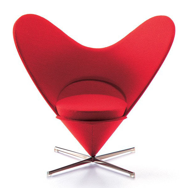 Large Red Heart Shaped Swivel Chair