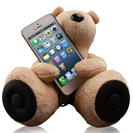 Sof teddy bear toy, holding a mobile phone