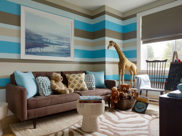 Striped living room walls with horizontal turquoise, duck egg, beige and brown stripes, with teddies and animal stuffed toys in the room