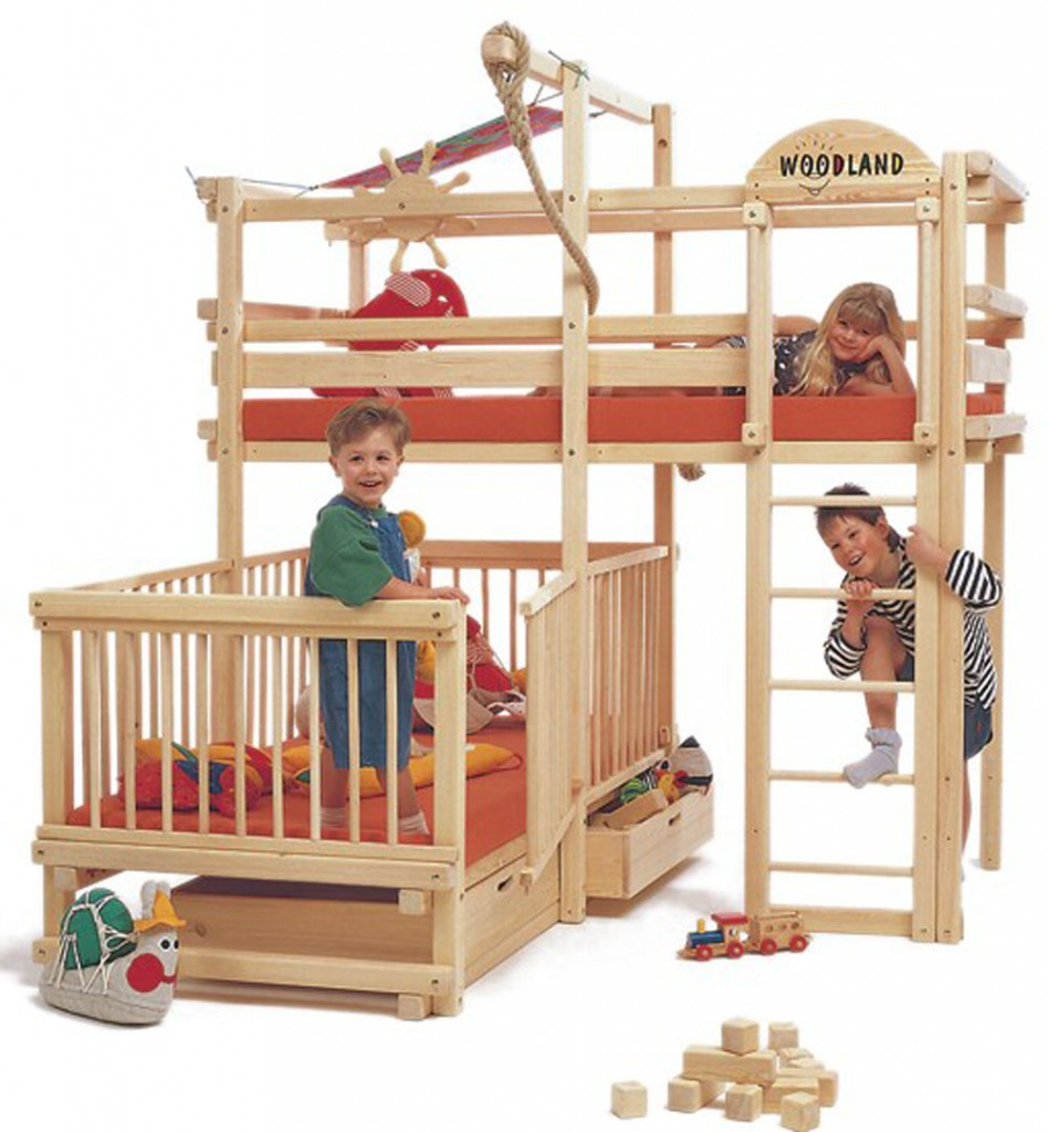Play Bunk Bed With Large Cot Under The Top Bunk