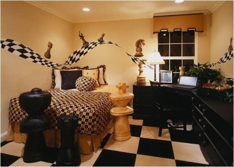 Cream, black and white bedroom with checked chess carpet flooring, and large chess piece ornament models