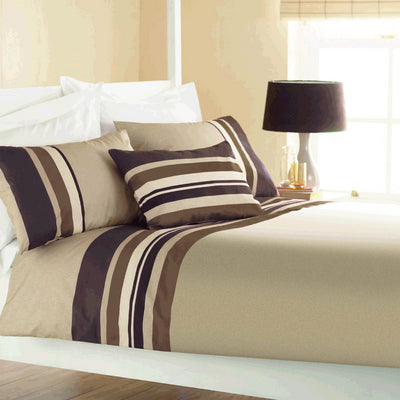 Beige and brown striped bedding