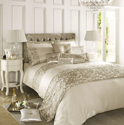 Luxury bedding in cream and silver