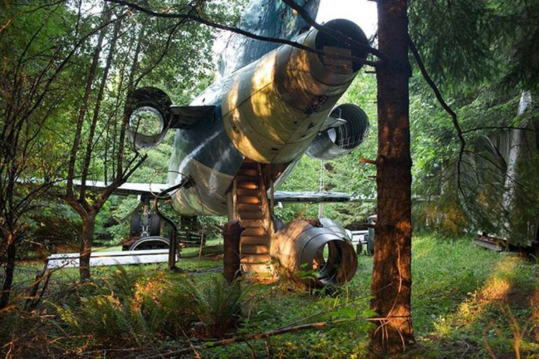 An old plane in the middle of a woodland, that has living space inside accessible by stairs