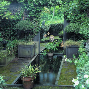 Water feature with mirror to make the garden look twice as big