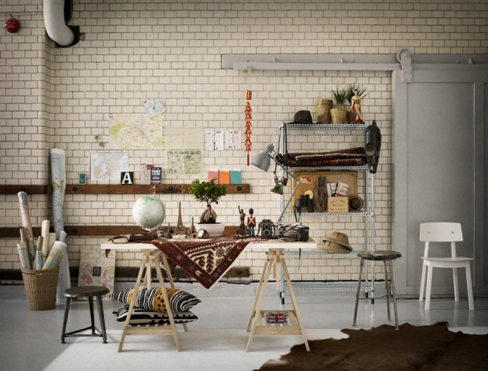 White Tiled Living Space With Upcycled Materials Used To Make Dining Table And Accessories