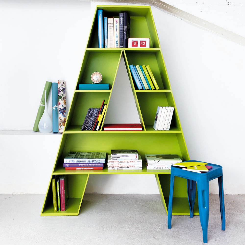 A green bookcase in the shape of the letter A