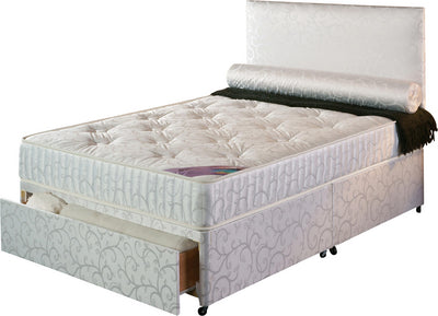 Cream divan bed and mattress