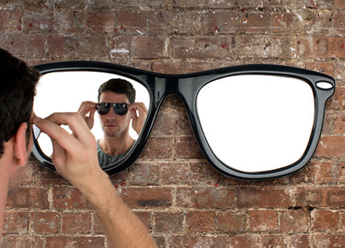 Glasses themed mirror, with one mirror in each lens frame