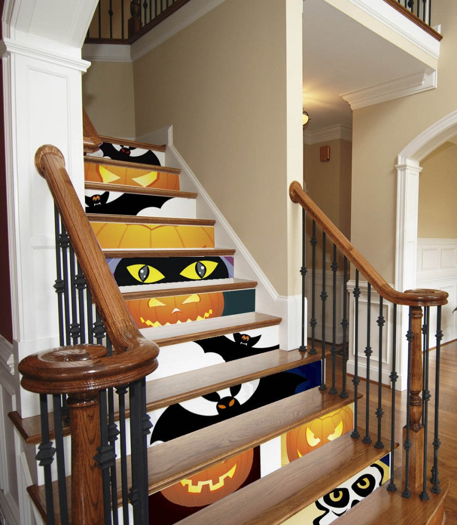 Traditional staircase with pumpkin, bat and skeletons decals on the front of each step
