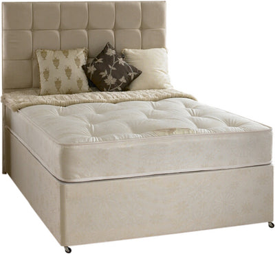 Beige and cream divan bed and mattress