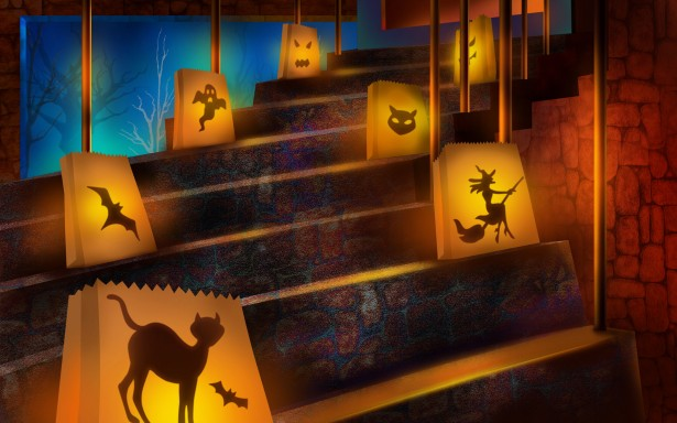 Spooky dark staircase with glowing Halloween themed silhouettes alternating from left to right up the stairs