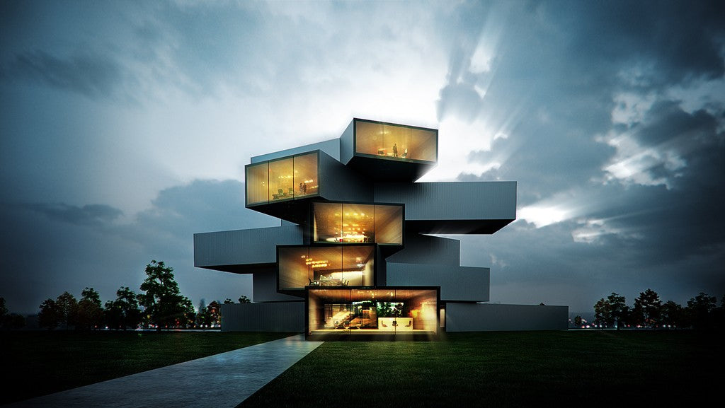 A building that looks like a jumbled Jenga tower with floor to ceiling glass exposing the interior of a home