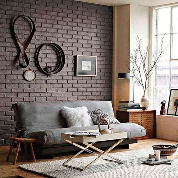 Black Brick Living Room, With Black Fold Out Bed Sofa
