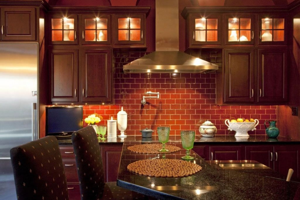 Red Tiled Kitchen, Mahogany Cabinet Doors And Breakfast Bar