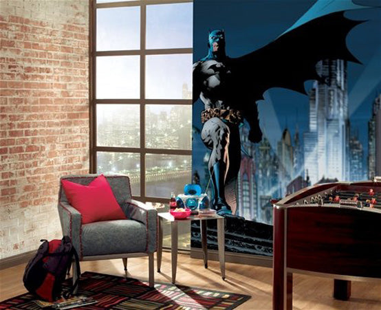 Batman Gotham Cityscape Decal On Right Wall, Juxtaposed Against An Exposed Brick Wall To The Left